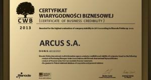 Arcus otrzymał Certyfikat Wiarygodności Biznesowej Dun&Bradstreet