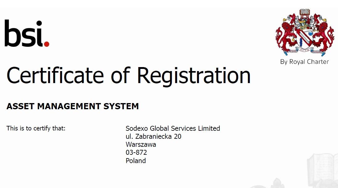 Sodexo Polska– najwyższy standard zarządzania obiektem potwierdzony certyfikatem ISO