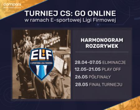 Turniej CS: GO online organizowany w ramach E-sportowej Ligi Firmowej.